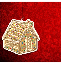 Christmas background with gingerbread house vector