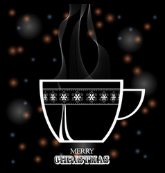 christmas coffee cup white silhouette on black vector image