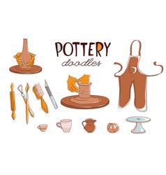 Clay pottery workshop studio icons set doodle vector