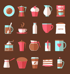 coffee and dessert icons set in flat style vector image