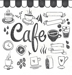 coffee set graphic elements and inscriptions vector image
