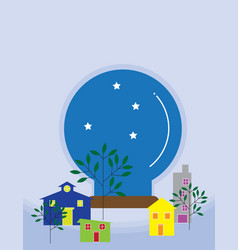 Colorful mini houses with snow globe of sky and vector