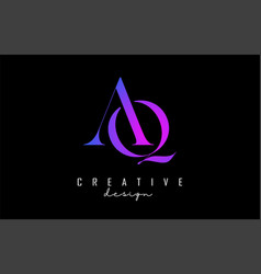 Colorful pink and blue aq a q letters design logo vector