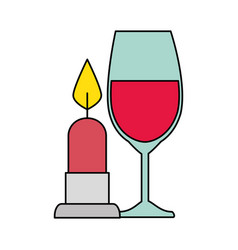 cup glass champagne with candle light isolated vector image