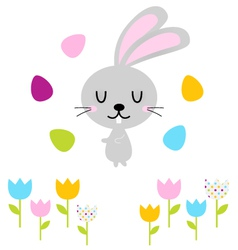 Cute easter bunny with eggs isolated on white vector image