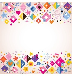 diamonds stars dots and hearts funky background vector image