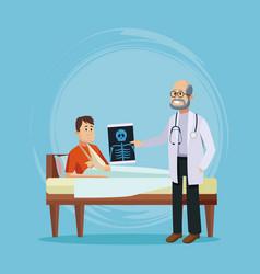 Doctor with patient cartoon vector