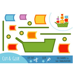 education paper game for children sailing ship vector image