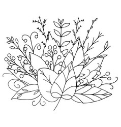 fall bouquet of black doodle leaves on white vector image