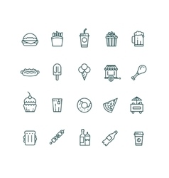 Fast food and snack thin line icons set vector