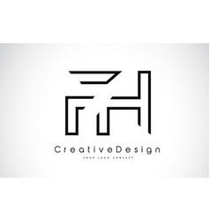 fh f h letter logo design in black colors vector image