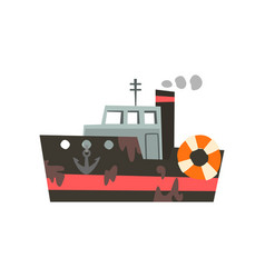fishing trawler for seafood production retro vector image