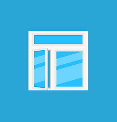 Flat open window icon on blue background vector