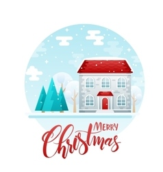 flat style two floor house with spruces vector image