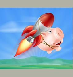 flying rocket piggy bank vector image