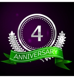 Four years anniversary celebration with silver vector