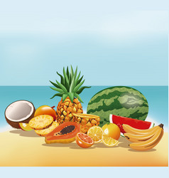 Fruits tasty fresh beach sand vector