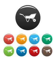 garden wheelbarrow icons set color vector image