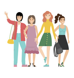 group smiling girls or students standing vector image