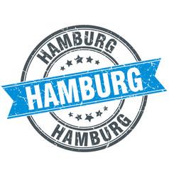 Hamburg blue round grunge vintage ribbon stamp vector
