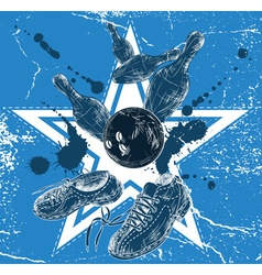 Hand Drawn Blue Bowling Sketch vector image