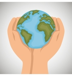 Hand holds world earth icon design vector