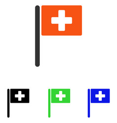 Hospital flag flat icon vector