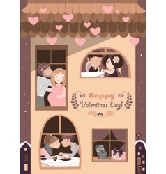 house full couples in love vector image