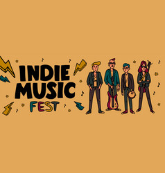 Indie music festival horizontal banner or cover vector