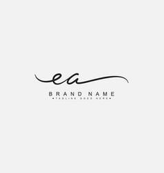 Initial letter ea logo - handwritten signature vector