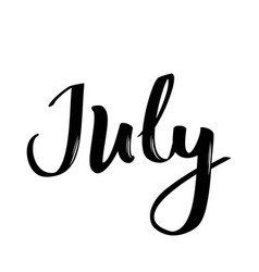 July month name handwritten calligraphic word vector