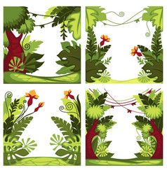 jungle or rainforest plants and trees with lianas vector image