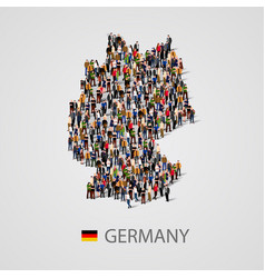 Large group of people in germany map form vector