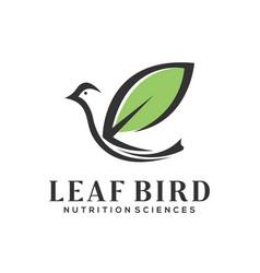 Leaf bird logo simple minimalist vector