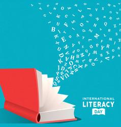 Literacy day card concept open book and alphabet vector