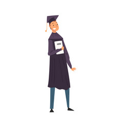 male graduate student in gown and cap standing vector image