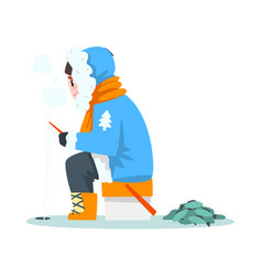 man fishing in a frozen river in winter clothing vector image