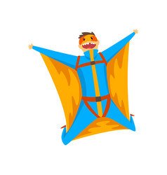 Man wearing wingsuit flying in the sky skydiving vector