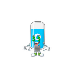 Mascot rich wall hand sanitizer with money eyes vector
