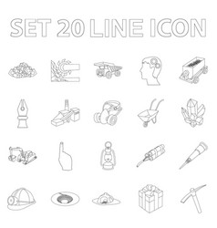 Mining industry outline icons in set collection vector