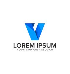 Modern letter v technology business logo design vector
