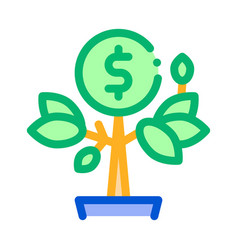 money tree pot icon outline vector image