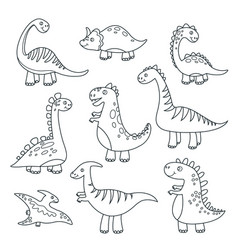 outline dinosaurs cute badino funny monsters vector image