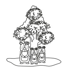Outline female bear its sons wild animals and tree vector