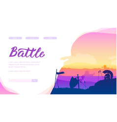 panorama medieval battlefield after fight vector image