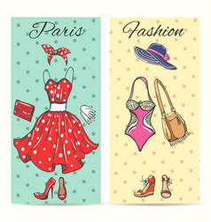 paris fashion clothes cards vector image