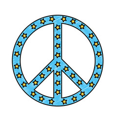 Peace symbol with stars vector