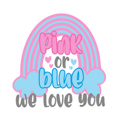 Pink or blue we love you -with rainbow vector