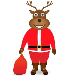 Santa Claus in Christmas deer mask vector