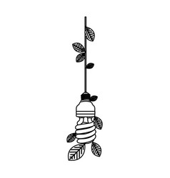 save bulb hanging with leaves vector image